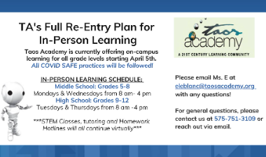 Re-Entry Plan for In-Person Learning